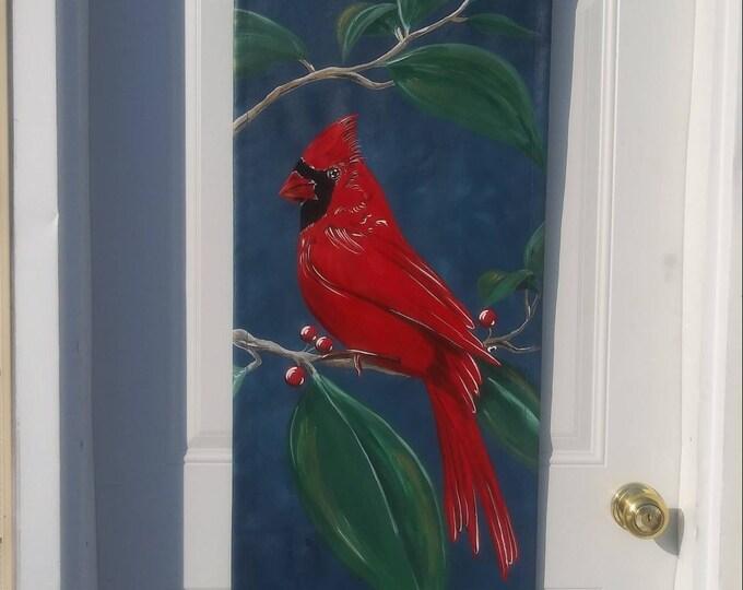 Cardinal Door Decoration Door Hanger Winter Spring Summer Fall Door Hanger Cardinal Fan Gift
