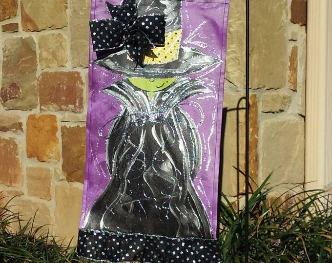 Halloween Witch Garden Flag, Purple