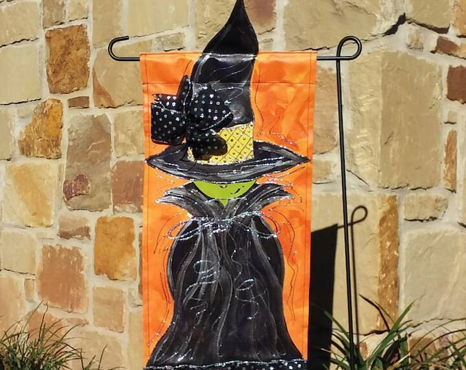 Halloween Witch Garden Flag, Orange