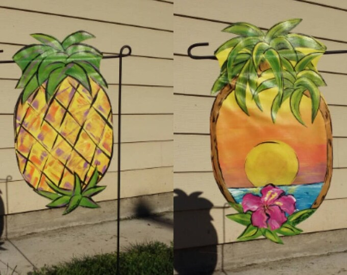 Pineapple/ Palm Tree & Sunset Garden Flag / Double sided.