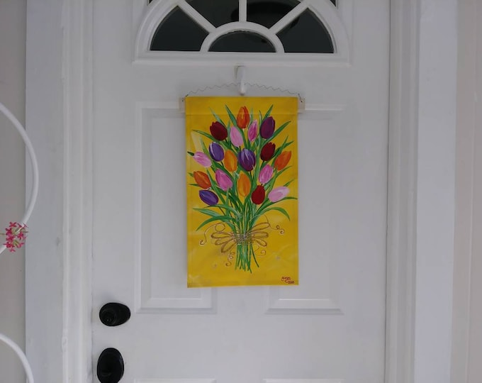 Tulips Door Hanger Tulip Bouquet Spring Tulips Canvas