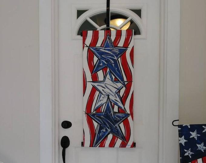 Stars & Stripes Patriotic Door Hanger American Flag Door Hanger Decoration Wreath
