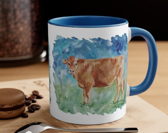 Cow Cattle Abstract Watercolor Coffee Mug, 11oz