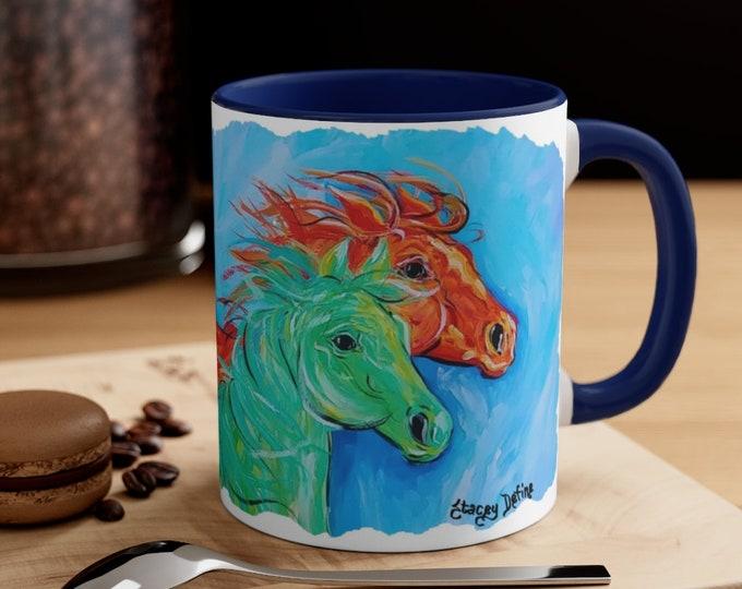 Horses Abstract Bright Multi Colored Coffee Mug, 11oz