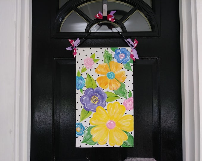 Floral door hanger, floral garden flag