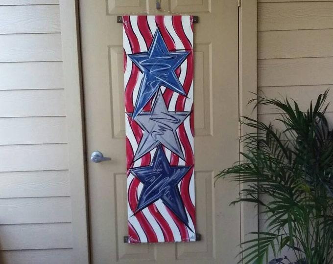 Stars & Stripes Door Hanger American Flag Door Hanger Decoration Patriotic Door Hanger 4th of July Wreath Decoration