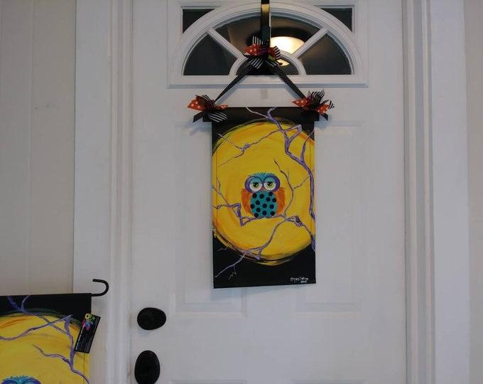 Halloween Owl & Moon Door Hanger / Garden Flag