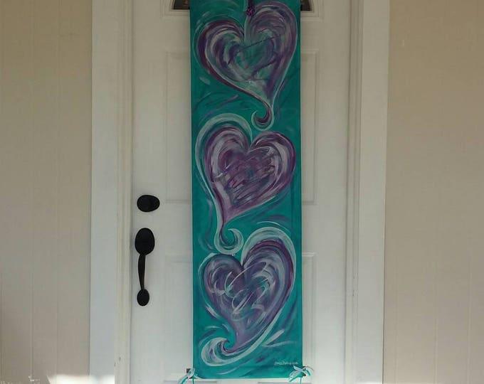 Three Hearts Door Hanger Teal Turquoise & Purple