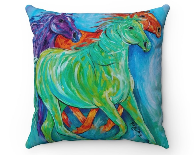 Horses Abstract Multi Bright Color Faux Suede 4 Sizes Square Pillow Case