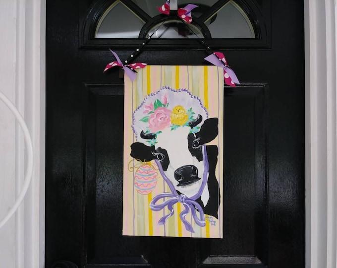 Easter Door Hanger Easter Cow Spring Milk Cow Holstein Dairy Cow Door Hanger Garden Flag Cow Lovers Gift
