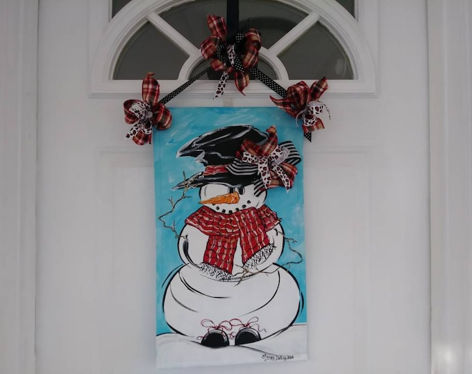 Winter Snowman with Plaid Scarf