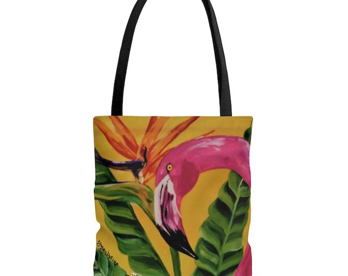 Flamingo Tote Bag 3 Sizes Bright Bird of Paradise Beach Tropical