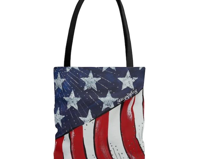 American Flag Tote Bag Beach Bag 3 Sizes