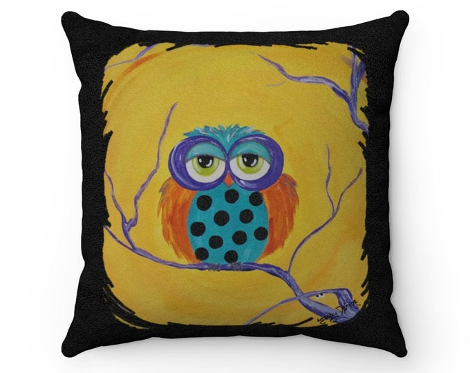 Halloween Owl Pillow Case Cover Faux Suede Square 4 Sizes