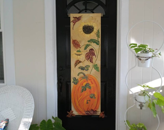Fall Autumn Door Hanger Decoration Pumpkin Sunflower Fall Leaves Door Decoration Wreath