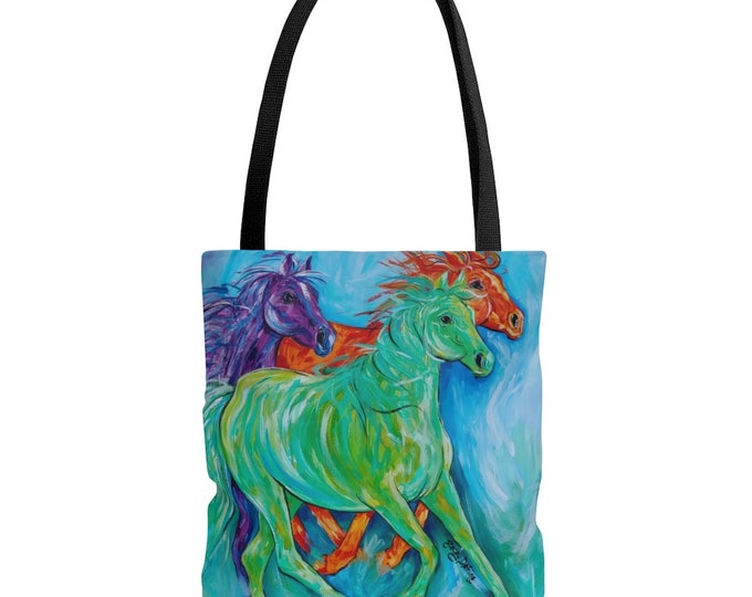 Horses Abstract Tote Bag 3 Sizes Bright Multi-Color Beach Bag