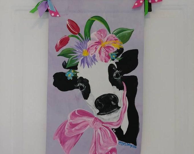 Cow Decoration Spring Dairy Cow Door Hanger Garden Flag Door Hanging Wall Hanging