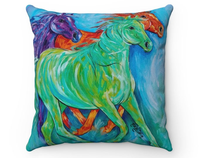 Horses Abstract Multi Bright Color Faux Suede 4 Sizes Square Pillow