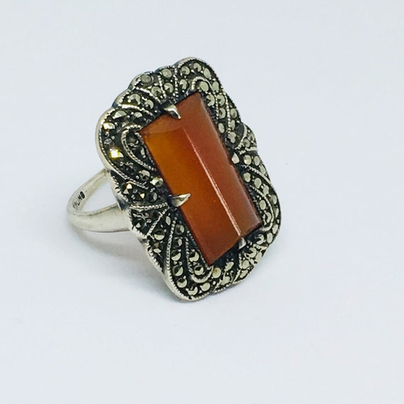 Vintage Art Deco Coffin Cut Carnelian & Marcasite