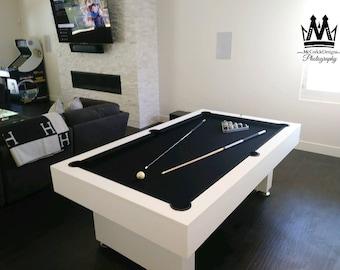Ft Custom Modern Economy Pool Table All White Finish And Etsy - White billiard table