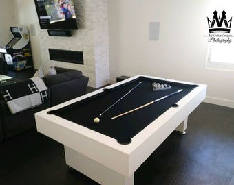 Gentil Modern 7ft Pooltable Billiards Game With Black Felt All White Finish! Pool  Table Great For Mancaves, Recroom, And Sports Bar!