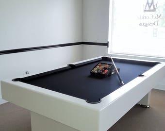 Pool Billiards Etsy - White billiard table
