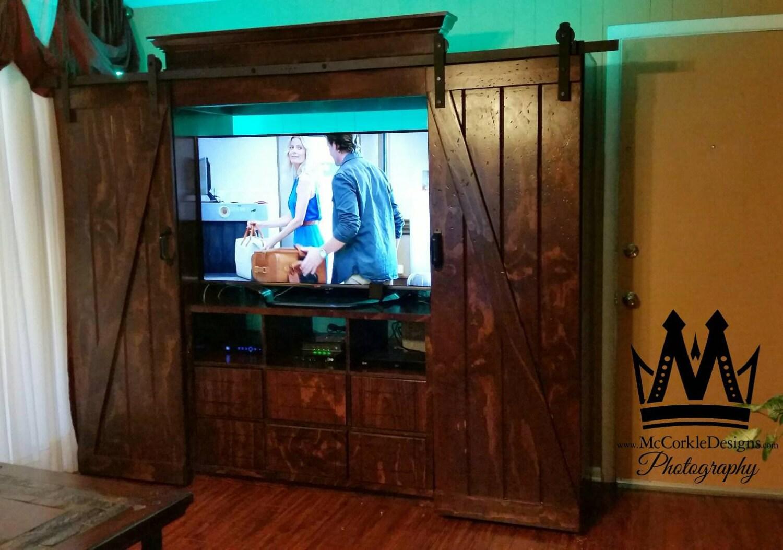 Farmhouse Barn Wood Entertainment Unit Dvd Storage Case Great Home Decor Custom Furniture