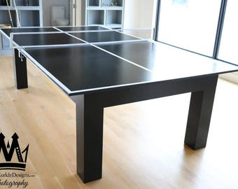 Contemporary Pingpong Table With Black Onyx Finish, And White Pin Stripes!  Order Your Custom