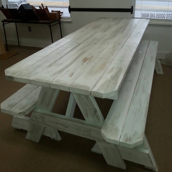 Picnic Tables Distressed Finish Custom Made To Order X Etsy - Picnic table finish