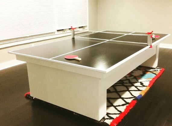 Custom Ping Pong Table Tennis Game White Finish With Black - Designer ping pong table