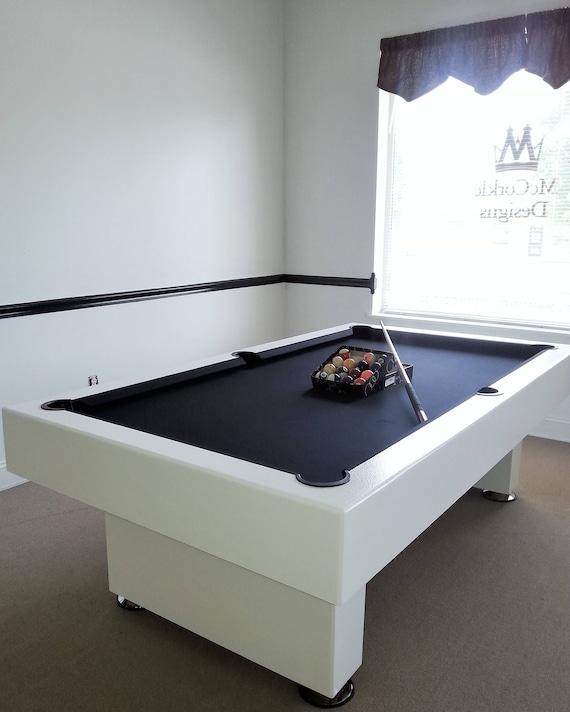 Ft Custom Modern Pool Table With Black Felt All White Finish Etsy - Black modern pool table