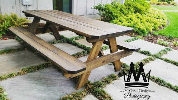 Ft Picnic Table With Dark Walnut Stain Finish Etsy - Picnic table finish