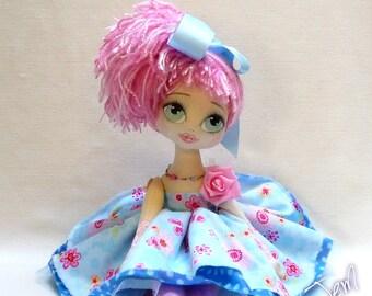 KAWAII Cloth doll, kei doll, art doll handmade dolls,showgirl, HARAJUKU bubblegum ooak doll keepsake doll original, heirloom doll, BONITA