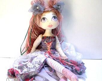 Old World doll Cloth Doll, Art Doll Original, fairytale gift for her, handmade, heirloom dolls textile doll soft sculpture ooak, MEGAN