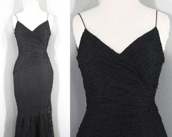 bc9f170c71c 1990s Black Lace Cocktail Dress by Carmen Marc Vavlo. Spaghetti straps