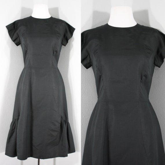 1960s Black Silk Ruffled Dress.  High neck, short
