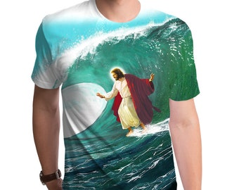 Surfs Up Jesus Men's T-Shirt (GT3670-285SUB) Funny tee, geeky gift, Jesus shirt, Jesus surfing, christian clothing, surfing, beach, summer