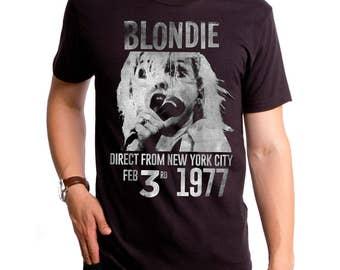 1ae780b2 Blondie 1977 Men's T-Shirt (BLN0161-501BLK) blondie, 1977, 1974, fade away  and radiate, heart of glass, music, 1970s music, Debbie Harry