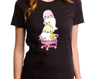 1f0c3520 Mamegoma Shopping Cart Girl's T-Shirt (MMG0013-502BLK) san x, japan,  japanese, shopping cart, seal, mamegoma seal, cute seal tee