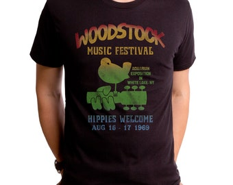 bf6ca37a2 Woodstock Music Men's T-Shirt Festival (WOO0030-501BLK) Groovy, hippies,  white lake, NY, music, peace, love, 1960s, NY festival, concert
