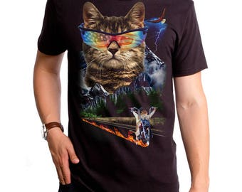 d09eb1613 Meow For Freedom Men's T-Shirt (GT8283-501BLK) cat, mouse, USA, freedom, cool  cat shirt, funny cat shirts, mouse t-shirt, cat lover