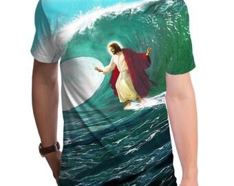 9435beffba Surfs Up Jesus Men's T-Shirt (GT3670-285SUB) Funny tee, geeky gift, Jesus  shirt, Jesus surfing, christian clothing, surfing, beach, summer