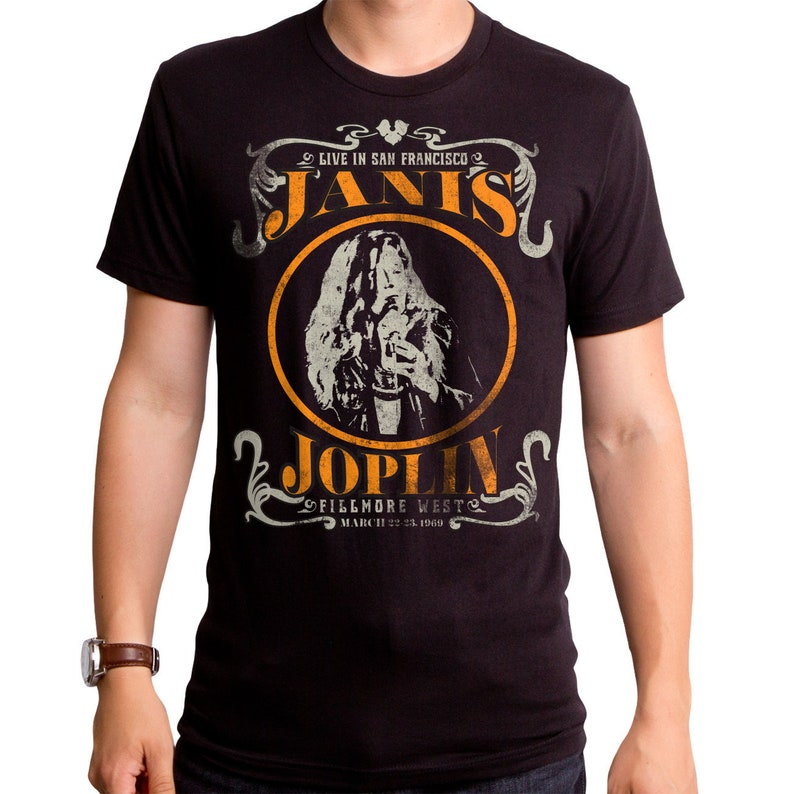 low priced 0b5d7 d13a8 Janis Joplin Live Men's T-Shirt (JNS0044-501BLK) American, music, concert,  american, blues, soul, rock star, pearl, 1960's, psychedelic