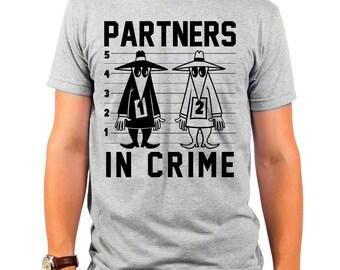 Spy vs Spy Partners In Crime (SPY0029-501HGR) Men's T-Shirt. MAD, MAD magazine, comics, cartoons, funny t-shirt, funny cartoon tee