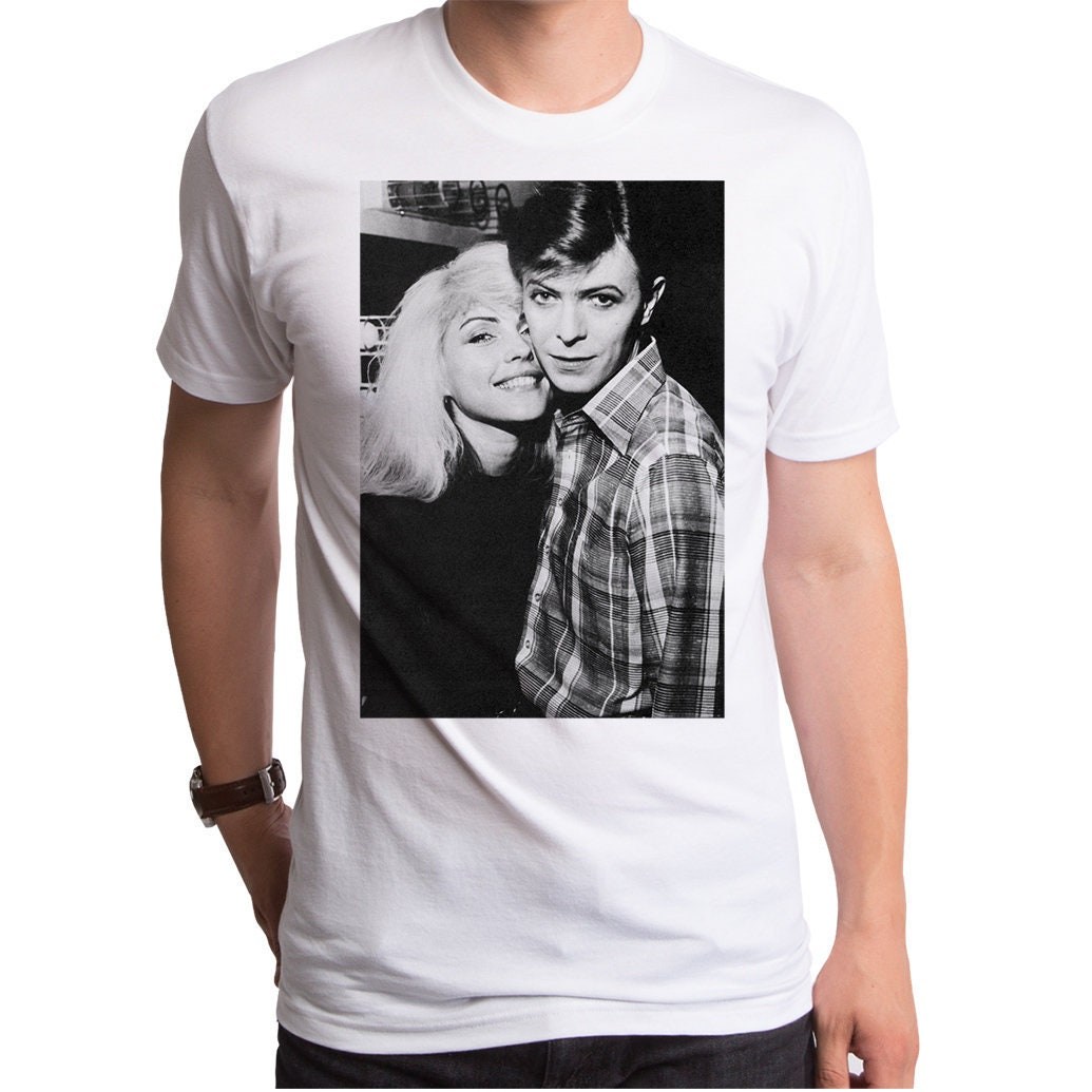 1970s Men's Shirt Styles – Vintage 70s Shirts for Guys David  Debbie Mens T-Shirt  Dbh0007-101Wht Bowie, Blondie, Visionary, Artist, Musician, Concert, Friends, Golden Years, Vintage, 1970s $27.95 AT vintagedancer.com