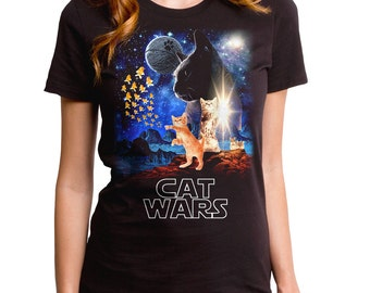 Cat Wars (WTE0129-502BLK) Girl's T-shirt. darth vader, cats, star wars, funny cat tee, cat lover, funny animal tees, cat t-shirt, the force