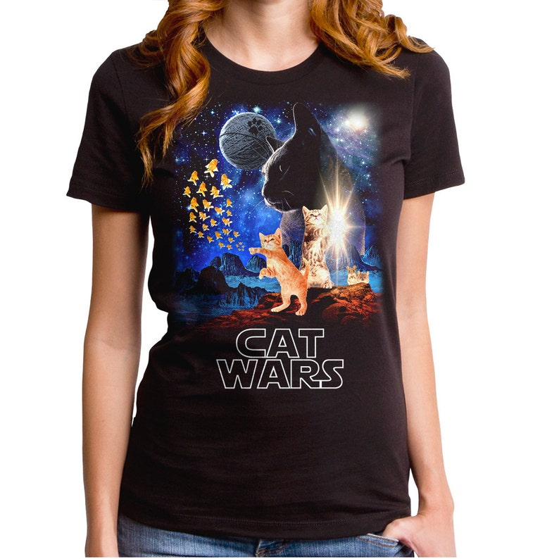 42bc5160 Cat Wars Girl's T-Shirt WTE0129-502BLK darth vader   Etsy