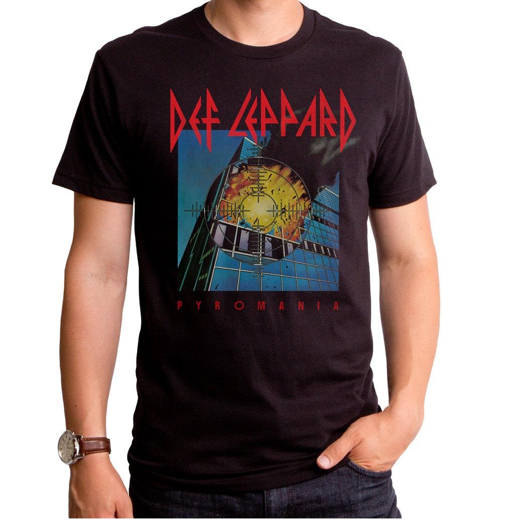 1970s Men's Shirt Styles – Vintage 70s Shirts for Guys Def Leppard Pyromania Mens T-Shirt  Def0022-501Blk Concert, English Rock Band, 1970S Music, Rock, Heavy Metal, Music $27.95 AT vintagedancer.com