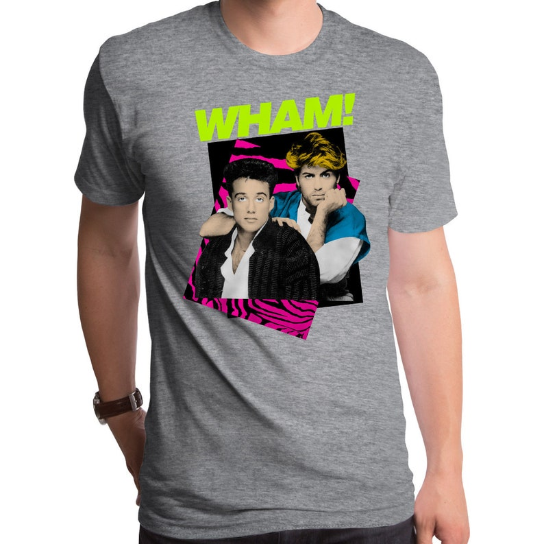 Wham T-Shirt George and Andrew Blue and Pink Black Tee