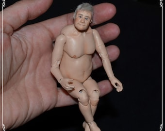 1/12 bjd GRANDPA doll - real female proportions - OOAK custom made - mautre content